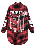 Red Women Boyfriend BF Style Monogrammed Plaid Long Sleeves Long Oversized Loose Shirt W/ Back Letter and Numbers Print - Hespirides Gifts - 2