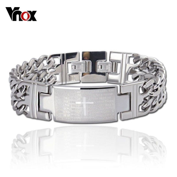 Fashion men bracelets &bangles stainless steel bracelet with cross design jewelry - Hespirides Gifts - 2