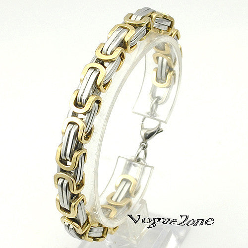 Promotion! Men's Bracelets Gold Chain Link Bracelet Stainless Steel 8mm Width Byzantine Wholesale High Quality BB247 - Hespirides Gifts - 4