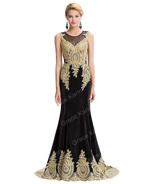 Mermaid Evening Dress Grace Karin Elegant Long Evening Dresses Black White Red Formal Gown With Golden Appliques Vestido - Hespirides Gifts - 2