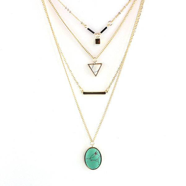 CHOKER Brand Bohemia Body Chain Triangle Necklace Multilayer Turquoise 18K Gold Necklace for Women Boho Summer Jewelry SNE160055 - Hespirides Gifts - 2