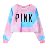 WAIBO BEAR New Fashion Women Crop Sweatshirts Kawaii Harajuku Style Loose Crop Hoodies Female Short Love Pink Sweatshirt - Hespirides Gifts - 2