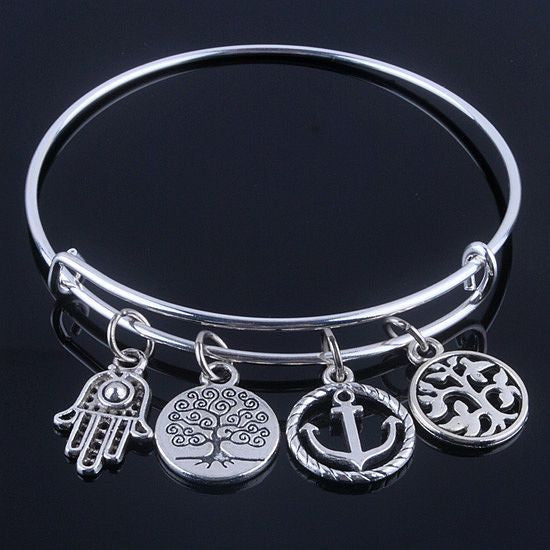 Hot sale plated silver bracelets bangles adjustable expandable wire bracelets with anchor & life trees charms jewelry for women - Hespirides Gifts - 5