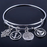 Hot sale plated silver bracelets bangles adjustable expandable wire bracelets with anchor & life trees charms jewelry for women - Hespirides Gifts - 4