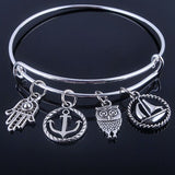 Hot sale plated silver bracelets bangles adjustable expandable wire bracelets with anchor & life trees charms jewelry for women - Hespirides Gifts - 6