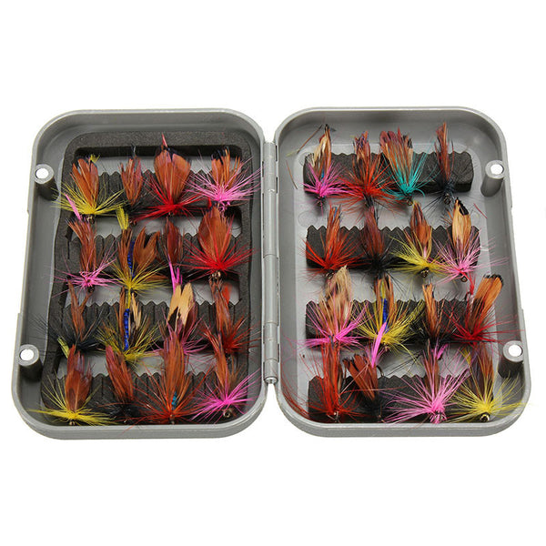 new 32pcs/sets fly fishing lure set Artificial Insect bait trout fly fishing hooks tackle with case box - Hespirides Gifts