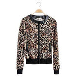 Leopard Print Sexy Lady Jacket summer spring Women Round Collar Zipper Bomber Jacket girl casual Slim thin suede short Coat - Hespirides Gifts - 2