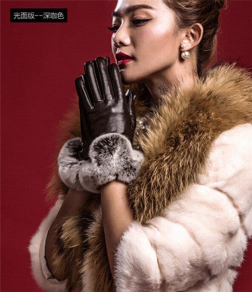 Hot Winter Women Fashion Short Leather Gloves With Rabbit Fur Soft Leather Mitten Gloves Female Warm Driving Wrist Gloves - Hespirides Gifts - 4