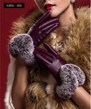 Hot Winter Women Fashion Short Leather Gloves With Rabbit Fur Soft Leather Mitten Gloves Female Warm Driving Wrist Gloves - Hespirides Gifts - 3