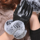 Hot Winter Women Fashion Short Leather Gloves With Rabbit Fur Soft Leather Mitten Gloves Female Warm Driving Wrist Gloves - Hespirides Gifts - 2