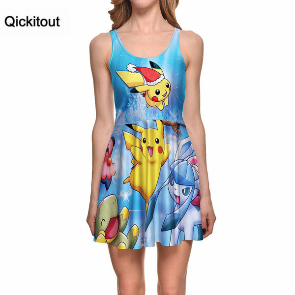 Qickitout Dress Summer Women Fashion Dress New style Pikachu Digital Printing Dresses Sleeveless Vest Dress Drop - Hespirides Gifts