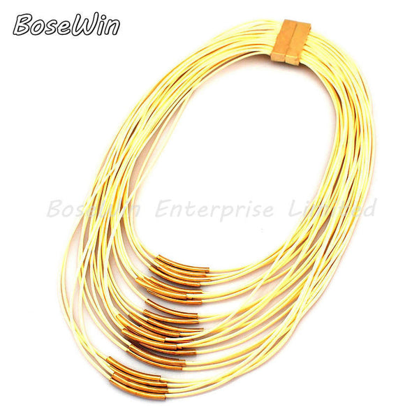 Fashion Magnetism Button Multilayer Rope Chain Cross Gold Metal Tube Collar Choker Statement Necklace Women Maxi Dress CE1816 - Hespirides Gifts - 2