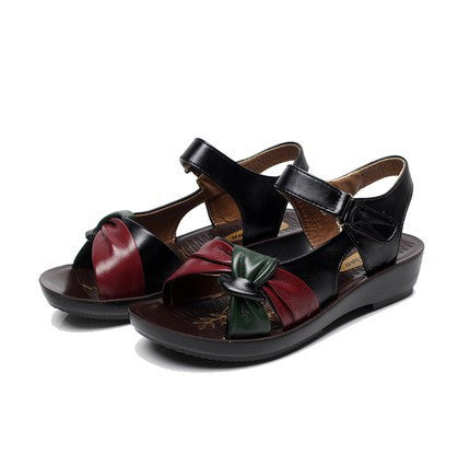 summer shoes flat sandals women aged leather flat with mixed colors fashion sandals comfortable old shoes - Hespirides Gifts - 2