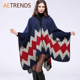 New Thicken Winter Poncho Women Red Rhombus Striped Warm Ponchos and Capes Z-3152 - Hespirides Gifts - 1