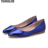 YOUGOLUN Women Loafers Shoes Elegant Women Flats Ladies Casual Flat Shoes Fashion Woman Pointed toe Sky Blue Silver Purple Shoes - Hespirides Gifts - 6