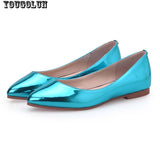 YOUGOLUN Women Loafers Shoes Elegant Women Flats Ladies Casual Flat Shoes Fashion Woman Pointed toe Sky Blue Silver Purple Shoes - Hespirides Gifts - 2