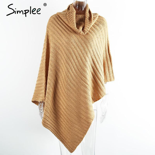 Simplee Autumn winter knitted pullovers poncho sweater women scarf Vintage khaki sweater manta Casual gary thick sweater jumper - Hespirides Gifts - 3