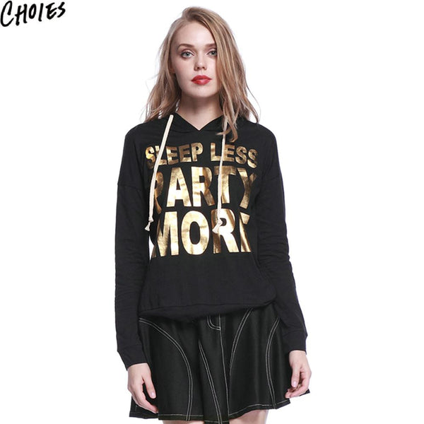 Women Black Metallic Letter Print Drop Shoulder Long Sleeve Hoodies Casual Sweatshirt New Fashion Slim Cotton Soft Pullover - Hespirides Gifts - 2