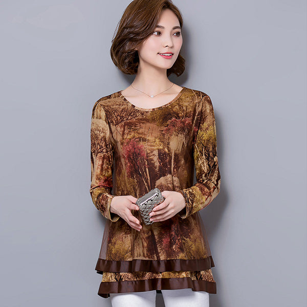 New Autumn Women chiffon Tops Fashion Casual Long sleeved Printed women shirts Elegant Loose plus size women clothing - Hespirides Gifts - 3