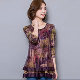 New Autumn Women chiffon Tops Fashion Casual Long sleeved Printed women shirts Elegant Loose plus size women clothing - Hespirides Gifts - 2