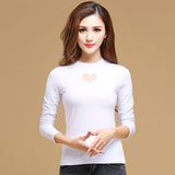 New Autumn Women t-shirt Fashion Casual Long-sleeved Women tops Elegant Slim Hollow Mesh tops plus size women blusas - Hespirides Gifts - 4