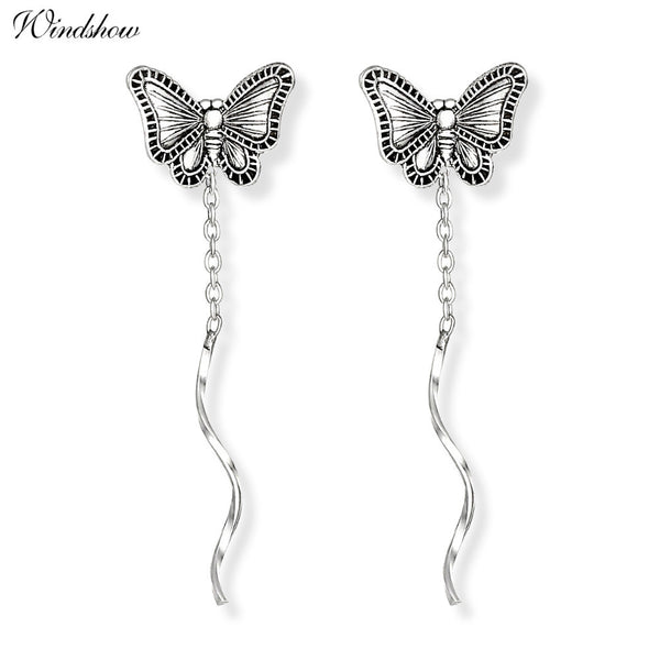 Vintage 925 Sterling Silver Cute Butterfly Theader Through Bar Chain Tassels Drop Dangle Earrings For Women Girls Aros Gift - Hespirides Gifts