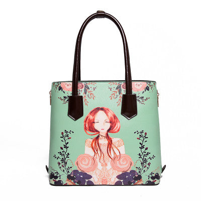 Women Famous Brand Flower Fairy Cartoon Printing Messenger Bags Luxury Women Bags Designer Handbags High Quality Pu Leather - Hespirides Gifts - 3