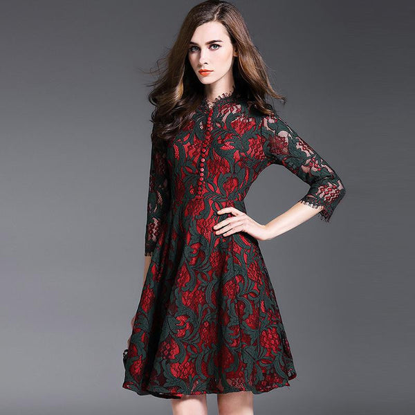 New Autumn Women's Large Pendulum Three Quarter Sleeve Printing Dresses Femme Casual Slim Clothing Women Sexy Party Dresses - Hespirides Gifts - 2