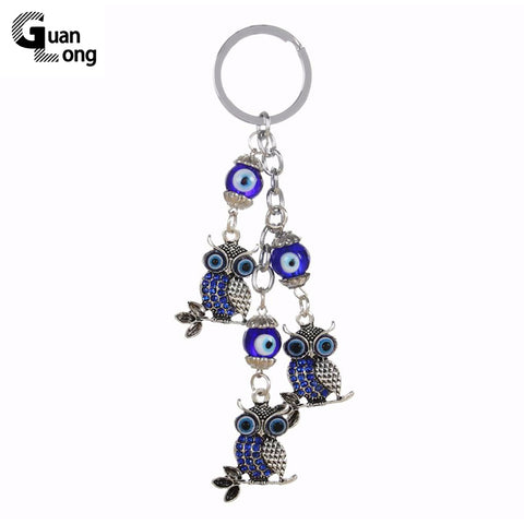 GuanLong Wholesale Antique Vintage Silver Owl Charms Keychain Blue Glass Bead Keyring For Women Bag Accessories