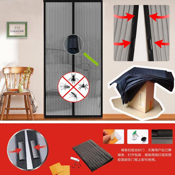 Hot Sale Summer 1pc Mosquito Net Curtain Magnets Door Mesh Insect Sandfly Netting with Magnets on The Door Mesh Screen Magnets - Hespirides Gifts