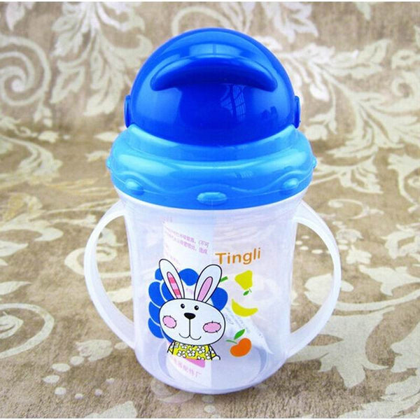 Updated Durable Baby diaper Kids Straw Cup Drinking Bottle Sippy Cups With handles Cute Design Feeding Bottle PP Plastic SGS - Hespirides Gifts - 2