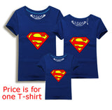 Family Matching Clothes Parent Kid Look Superman T Shirts Summer Father Mother Kids Cartoon Outfits New Cotton Tees Drop - Hespirides Gifts - 7