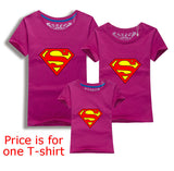 Family Matching Clothes Parent Kid Look Superman T Shirts Summer Father Mother Kids Cartoon Outfits New Cotton Tees Drop - Hespirides Gifts - 5