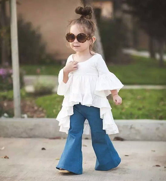 New Early autumn kid girls flutter blouse white plain hi-lo tops summer baby girls puff sleeve flounce shirt children clothes - Hespirides Gifts