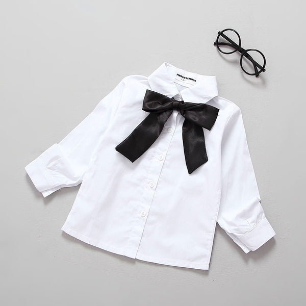 Ins* Autumn Girls Blouse Solid Kids Bow Shirts Cotton Tops School White Blouses For Girls Long Sleeve Shirts Baby Girl Clothes - Hespirides Gifts - 2