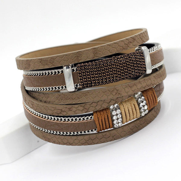 New Arrivals Multilayer Windings Leather Bangle Bracelet Fashion Snake Texture Leather Chain Rhinestone Bracelets Women - Hespirides Gifts - 3