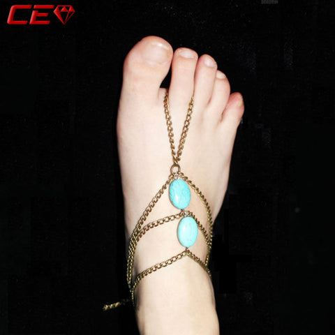 Shijie Bohemian Ankle Bracelet Femme Turquoise Anklets For Women Vintage Boho Foot Jewelry Enkelbandje Barefoot Sandals Bijoux - Hespirides Gifts - 1
