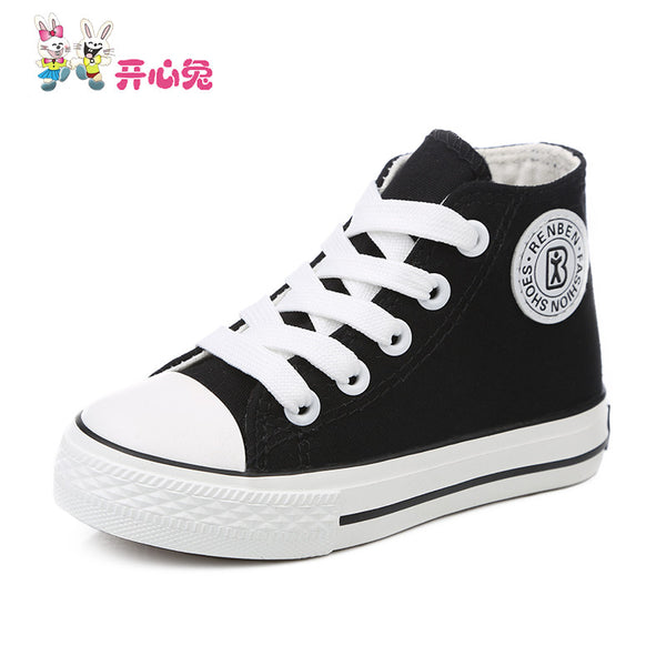 Spring autumn Children shoes girls high child canvas shoes boys child girls single shoes cotton-made white shoes 20 size - Hespirides Gifts - 8