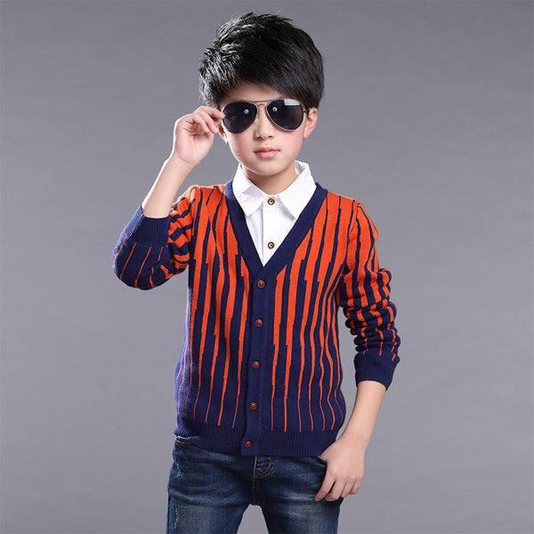 Brand New Big Boy Sweater Striped Pattern V-neck Kid Cardigan High Quality Fashion Children Autumn Warm Outwear - Hespirides Gifts - 3