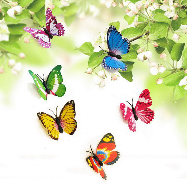 Hot Fashion 12Pcs/lot Colorful 3D DIY Butterflies Sticker Support Wholesale - Hespirides Gifts