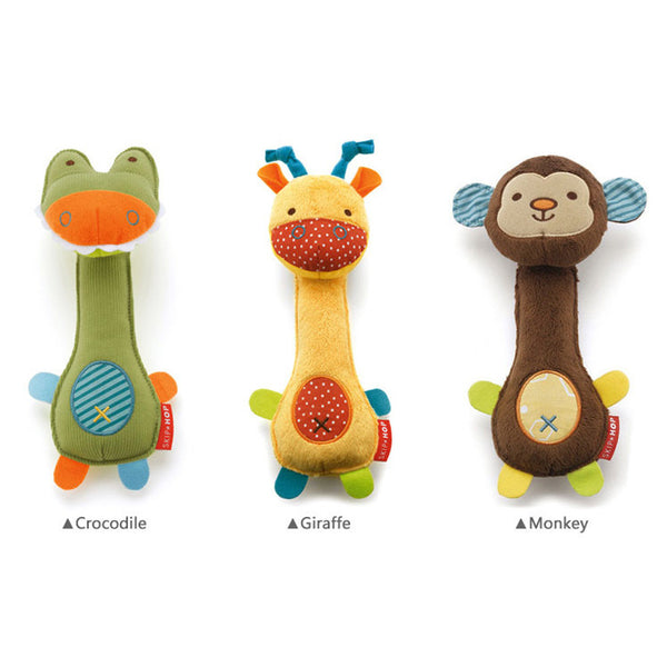 2016 NEW Soft Baby Toy 21cm Cartoon Animal Teether Rattle Squeaker BB Sounder Early Educational Doll Crocodile Deer Monkey - Hespirides Gifts