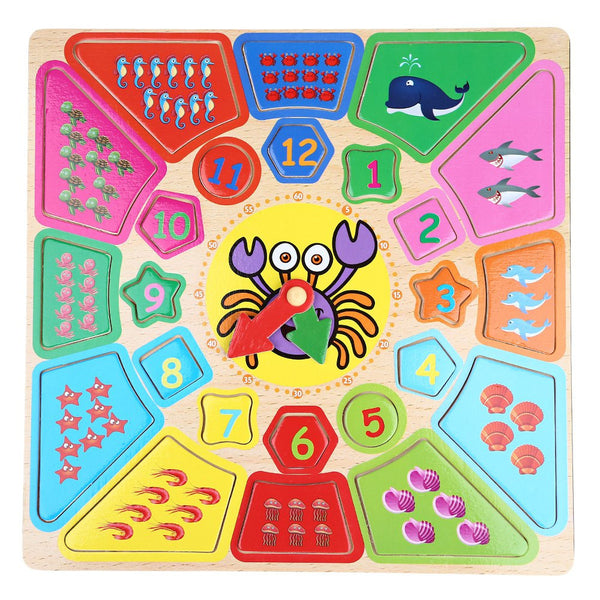 New Shape of Wooden Clock Building Blocks Toys Intelligence Toys for Upper 12 Month Child Rounded Cartoon Crab Clock Kids Toys - Hespirides Gifts