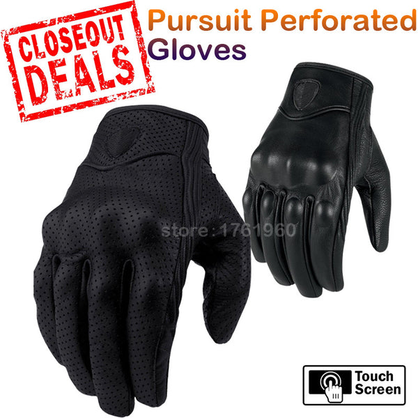 Hot Sale Pursuit Stealth Motorcycle Gloves Motocross Full Leather Men Racing Motorbike Black Gloves Closeout - Hespirides Gifts