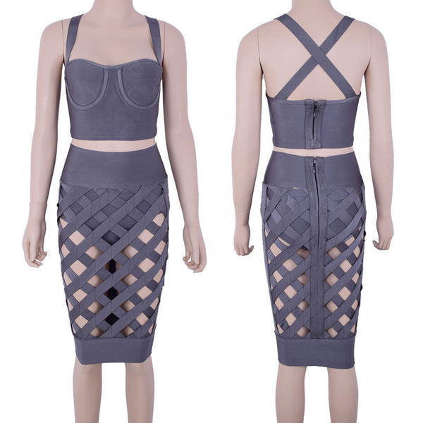 IN STOCK!!! Ship immediately!OCS Exclusive Summer New Arrival Dress Women Taupe Sexy Lattice Crossover Bandage 2 Piece Set - Hespirides Gifts - 5