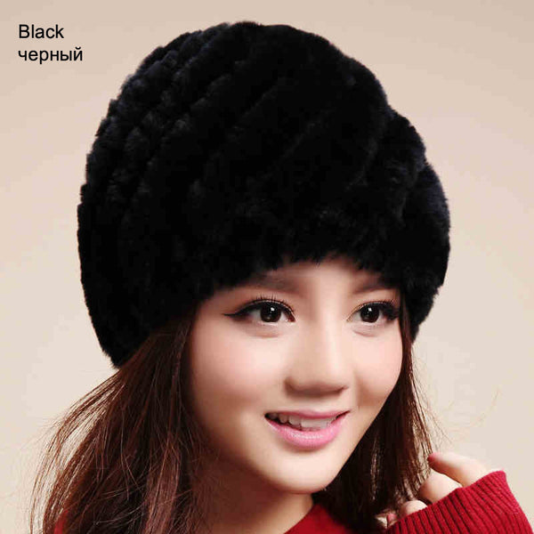 LIYAFUR Brand Russian Winter Knitted Rex Rabbit Fur Women's Hat Natural Rabbit Fur Hats Caps - Hespirides Gifts - 3