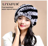 LIYAFUR Brand Russian Winter Knitted Rex Rabbit Fur Women's Hat Natural Rabbit Fur Hats Caps - Hespirides Gifts - 8
