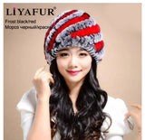 LIYAFUR Brand Russian Winter Knitted Rex Rabbit Fur Women's Hat Natural Rabbit Fur Hats Caps - Hespirides Gifts - 11