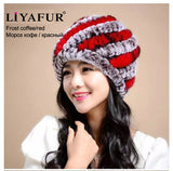 LIYAFUR Brand Russian Winter Knitted Rex Rabbit Fur Women's Hat Natural Rabbit Fur Hats Caps - Hespirides Gifts - 5
