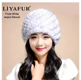 LIYAFUR Brand Russian Winter Knitted Rex Rabbit Fur Women's Hat Natural Rabbit Fur Hats Caps - Hespirides Gifts - 4