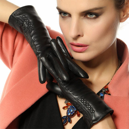 Women Gloves Thermal Soft Lined Winter Genuine Leather Glove Wrist Solid Fashion Dressing Lambskin L013nc - Hespirides Gifts - 5